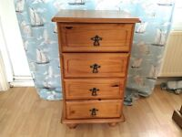 SOLID PINE 4 DRAWER CABINET (Also selling another of these in my other items for sale)