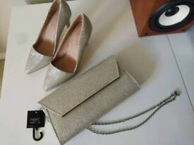 Brand New & Unused NEXT - Shoes (Size 3) and matching clutch handbag