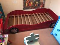 single red sport car bed