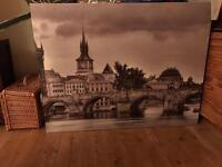 Large Prague canvas / two framed beach pictures