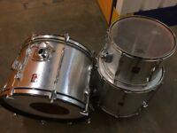 Vintage 3 piece Premier Drumkit. Silver Sparkle