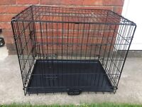 2 DOOR DOG CRATE, 30 INCHES LONG, 20 INCHES WIDE AND 24 INCHES TALL