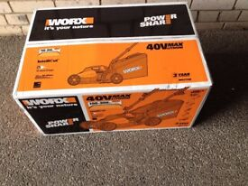 Cordless 40v Worx Lawn Mower, Brand New, Box Never Opened. Rechargeable.