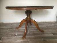 Old Oval Inlaid Tilt Top Dining Table, Lovely Looking Table