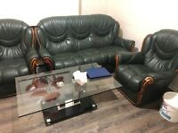 Leather green sofa 3 seat and 2 single