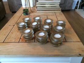 33 x glass gold tea light candles holder with candles