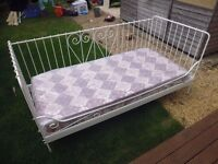 Cream,single day bed and mattress for sale £100.00