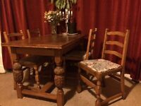 Beautiful, solid wood, vintage dining table & 4 chairs