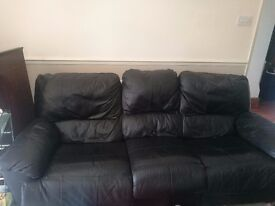 REALLY GOOD CONDITION 3 seater Black Leather Sofa - MUST GO (moving abroad!)
