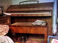 upright overstrung piano and stool
