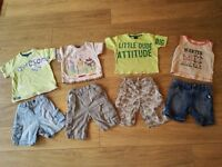 12-18 months 4 pairs of shorts and 4 tee-shirts