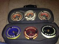 Presentation set of 2 freshwater fly reels with spare spools and lines.