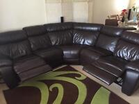 Brown Leather Corner Recliner Sofa