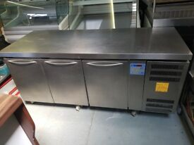 GRAM 3 DOOR STAINLESS STEEL BENCH FRIDGE AST257