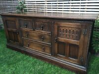 Beautiful large antique solid wood sideboard, 194cm L, lovely condition