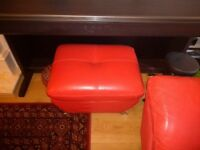 Leather Sofa, 3 seater, one seater and foot stool