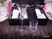 new in box set of eight teardrop hand-cut lead crystal glasses