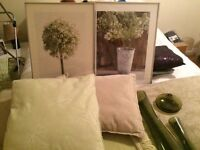 Vases/cushions/throw/pictures
