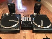 Numark TT1625 direct drive decks, mixer and speakers