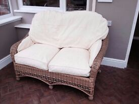 Rattan sofa and two matching armchairs