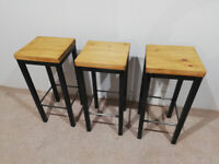 Industrial Furniture Kitchen Bar stools x 3
