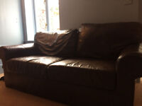 Two seater sofa brown faux leather