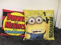 2 double sided Denis the menace and despicable me cushions