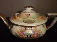 Crown Devon Fieldings antique tea set: teapot, sugar bowl, cups & saucers, tea plates