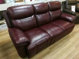 3 seater Burgundy manual real leather recliner sofa