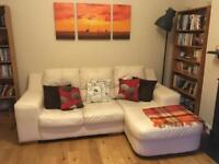 White 3-seater sofa, real leather