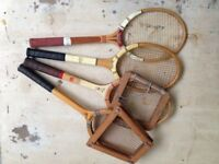 Collection of Old Tennis Rackets