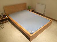 Ikea Malm european-size double bed in beech with 140cm mattress