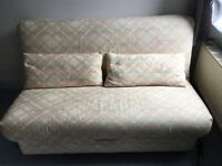 4 ft 6 sofa bed in good condition, cream patterned cover in excellent condition