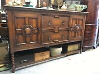 ANTIQUE OAK EDWARDIAN OAK SIDEBOARD - ANTIQUE VINTAGE RETRO