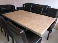 Beautiful dining table and 6 leather chairs. Excellent condition. £700 OVNO. Paid £2k new.