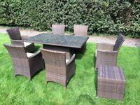 Rattan garden furniture, 8 piece set