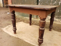 Victorian Oak Table on Turned Legs (c.1890's) - *Free Local Delivery