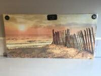 XL Beach Scene Glitter Canvas, Brand New