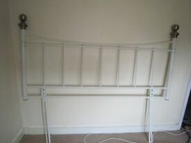 Double bed head 4ft6in in white metal