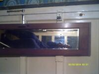 AN EXCELLENT MIRROR 46 by 9 inches IN an OAK SURROUND 56 by 14 inches ., IN V.G.C. ++