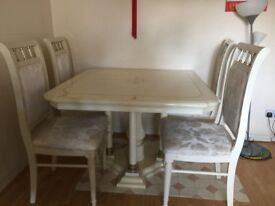 Marble Extending Dining Table with 6 chairs