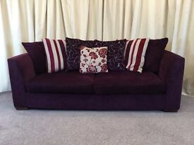 Modern 3 Seater Sofa - Purple Settee With Scatter Cushions