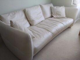 Stunning Natuzzi white leather three-seater sofa