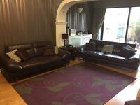 3 & 2 piece sofa for sale excellent condition Italian pure leather colour aubergine.