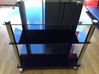 Black Glass Tv Stand Brand New