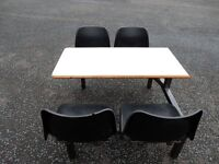 Cafe style 4seat table and Chairs 3 sets Steel frame (from works Canteen )