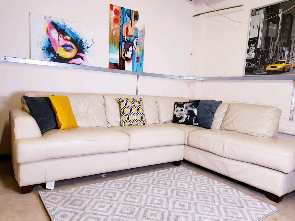 Furniture Village Corner Sofa In Cream Leather