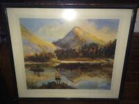 Lovely Framed Print of Fishing in Glencoe by Artist William H Fry