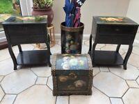 2 bed cabinets , treasure chest, & umbrella stand
