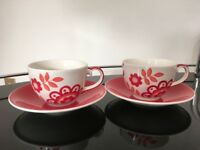 Two coffee cups with saucers (Whittard of Chelsea)